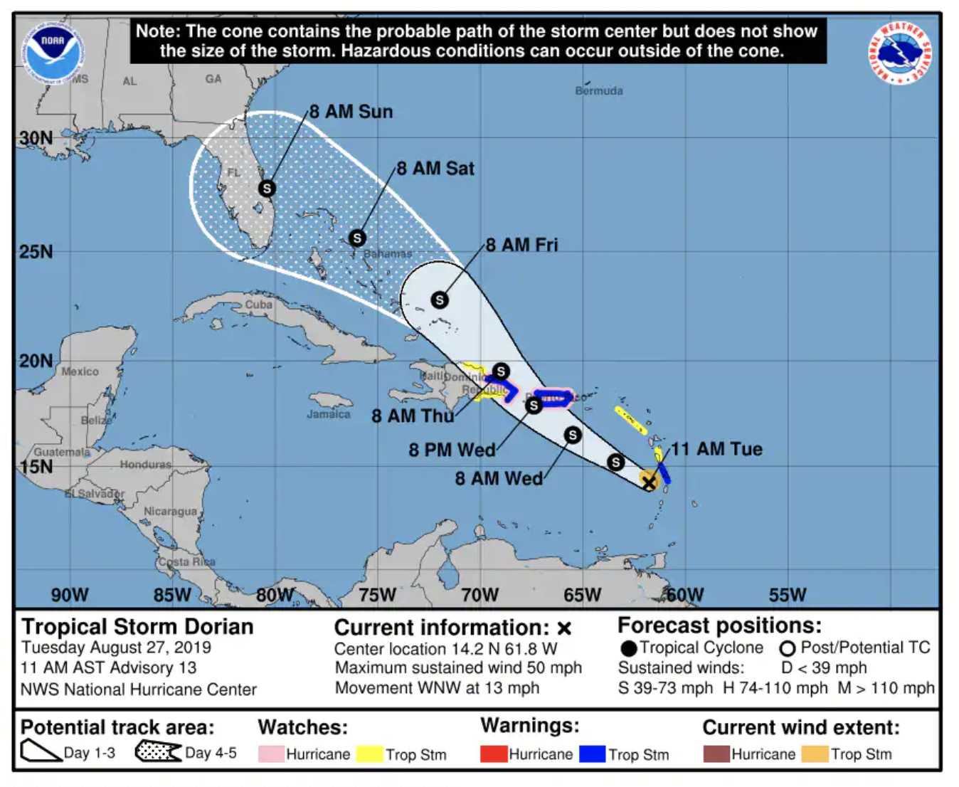 A critical moment for Tropical Storm Dorian is just hours away