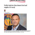 sun sentinel Rabbis help law firm donate food and supplies for needy