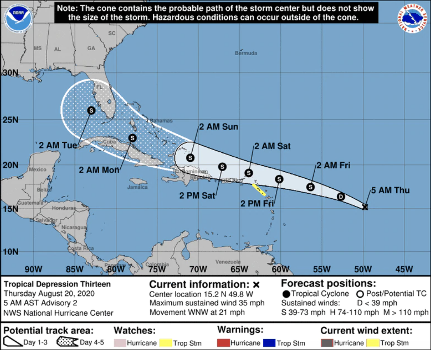 Tropical Depression 13 forms with Florida in its path