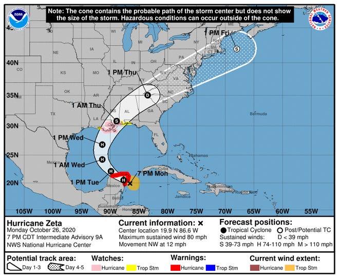 Zeta becomes a hurricane as it nears Yucatan, heading for U.S.